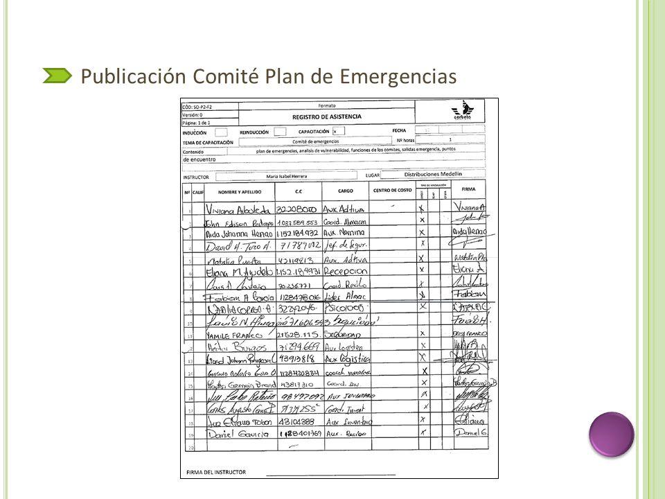 Publicación Comité Plan de Emergencias