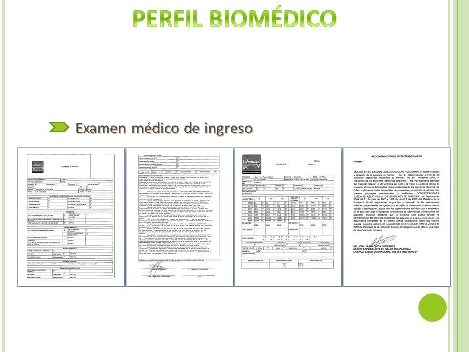 PERFIL BIOMÉDICO Examen médico de ingreso