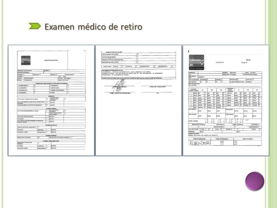 Examen médico de retiro