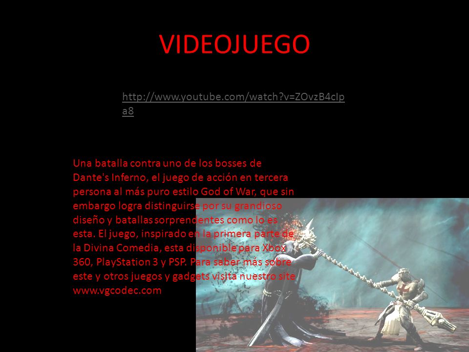 VIDEOJUEGO http://www.youtube.com/watch v=ZOvzB4cIpa8