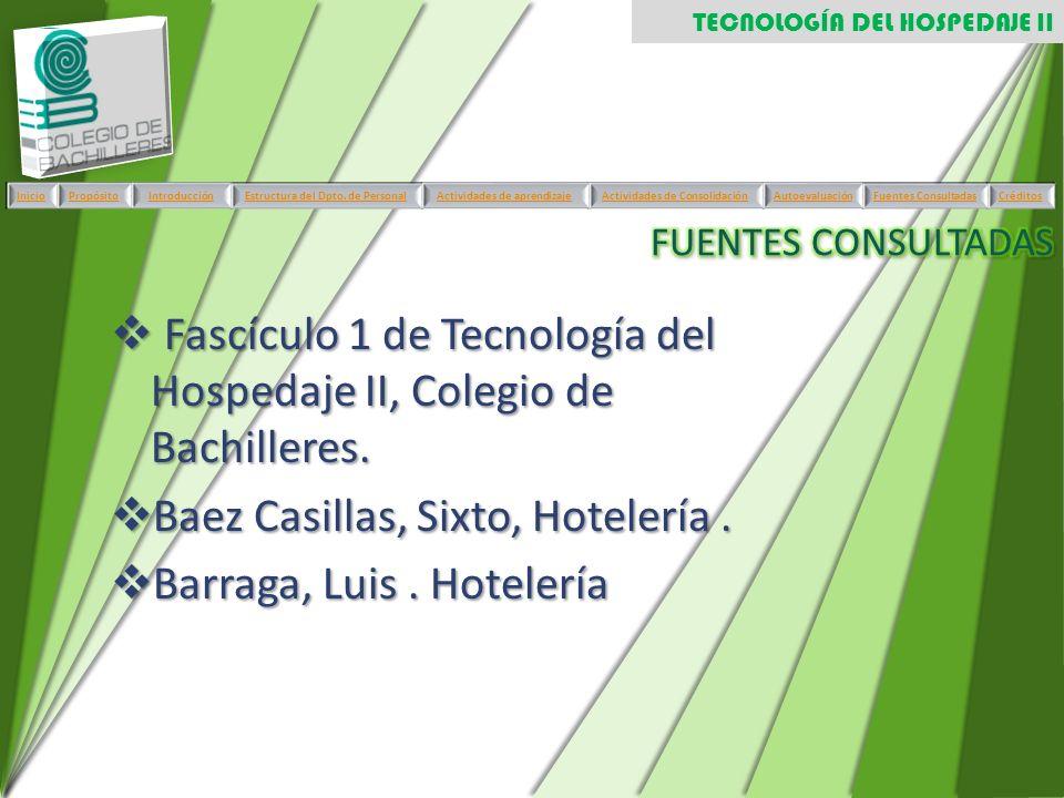 Fascículo 1 de Tecnología del Hospedaje II, Colegio de Bachilleres.