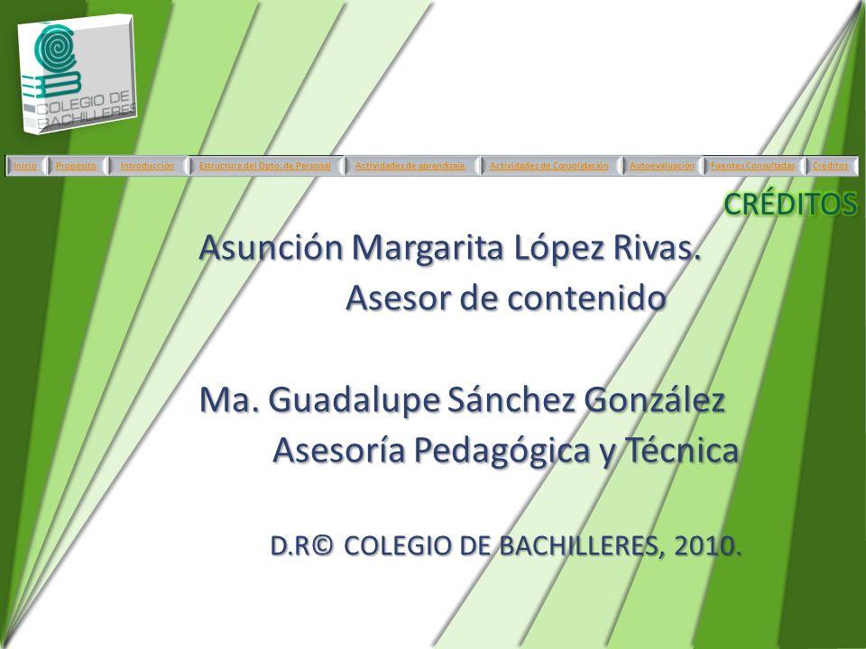 Asunción Margarita López Rivas. Asesor de contenido