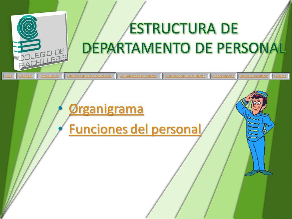 ESTRUCTURA DE DEPARTAMENTO DE PERSONAL