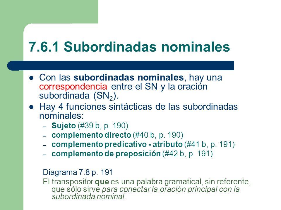7.6.1 Subordinadas nominales