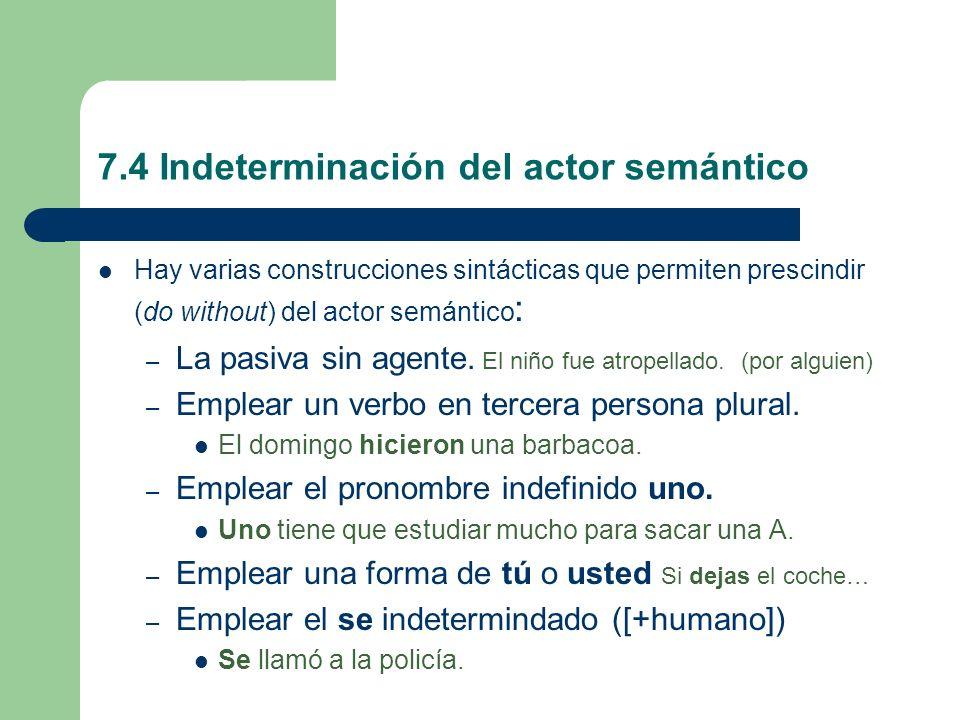 7.4 Indeterminación del actor semántico