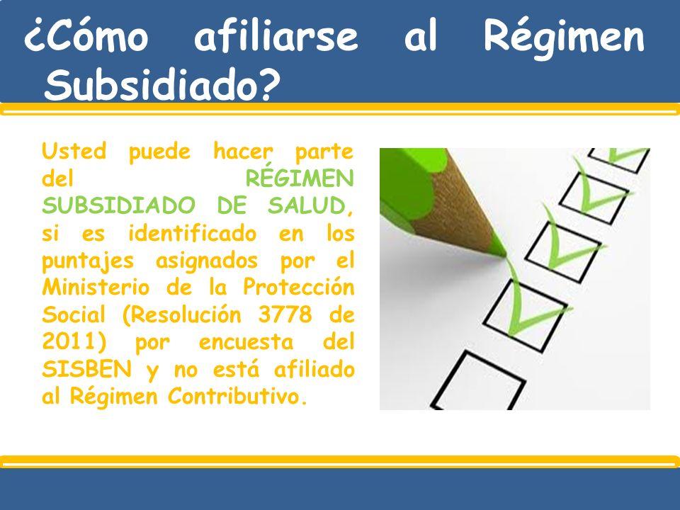 ¿Cómo afiliarse al Régimen Subsidiado