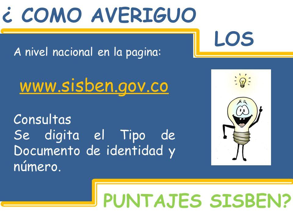 ¿ COMO AVERIGUO LOS www.sisben.gov.co PUNTAJES SISBEN Consultas