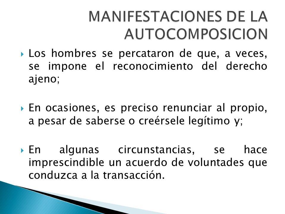MANIFESTACIONES DE LA AUTOCOMPOSICION