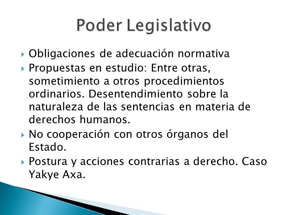 Poder Legislativo Obligaciones de adecuación normativa