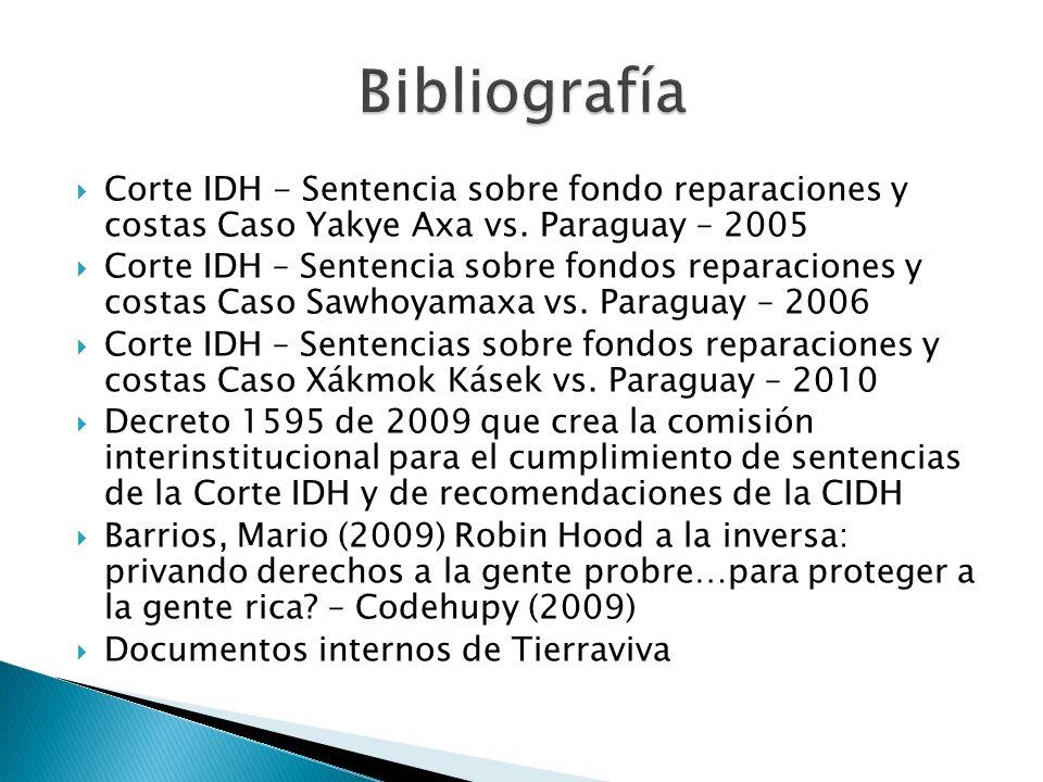Bibliografía Corte IDH - Sentencia sobre fondo reparaciones y costas Caso Yakye Axa vs. Paraguay – 2005.