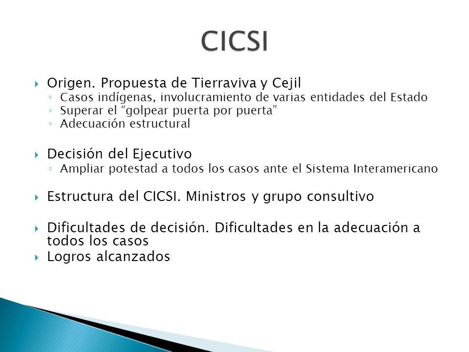 CICSI Origen. Propuesta de Tierraviva y Cejil Decisión del Ejecutivo
