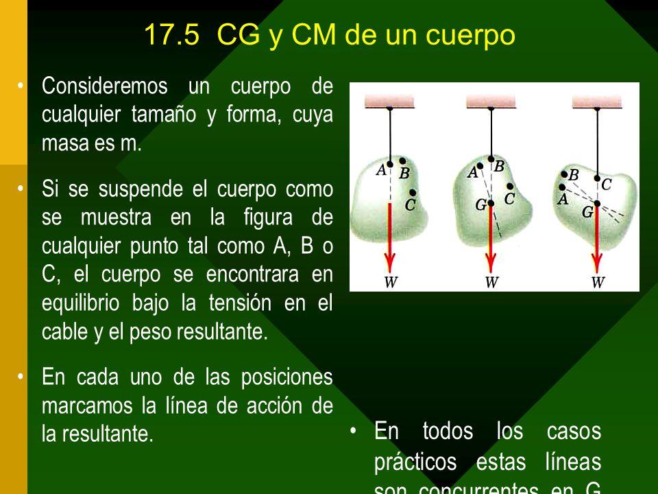 17.5 CG y CM de un cuerpo Consideremos un cuerpo de cualquier tamaño y forma, cuya masa es m.