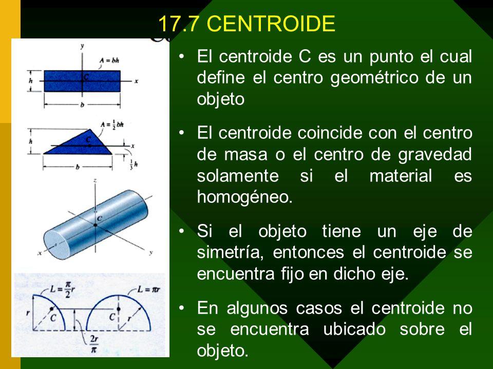 17.7 CENTROIDE El centroide C es un punto el cual define el centro geométrico de un objeto.
