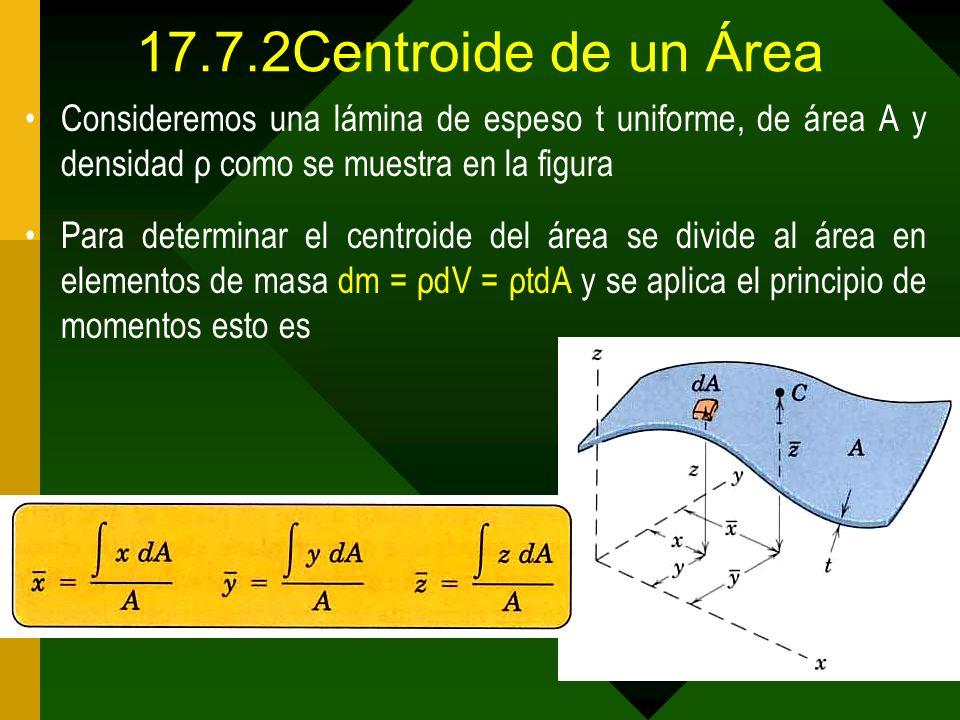 17.7.2Centroide de un Área Consideremos una lámina de espeso t uniforme, de área A y densidad ρ como se muestra en la figura.