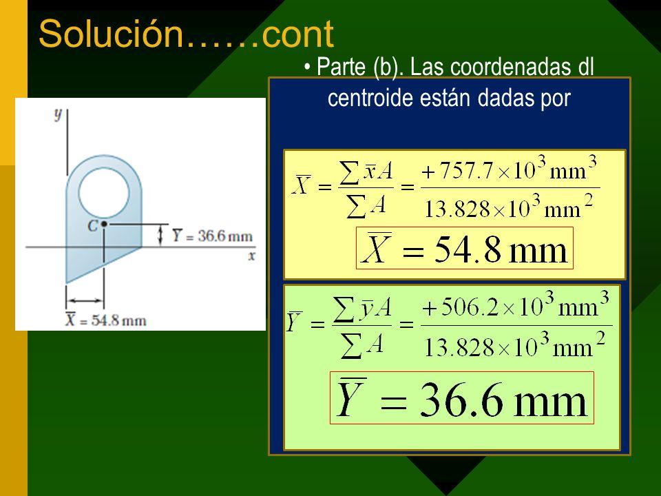 Parte (b). Las coordenadas dl centroide están dadas por
