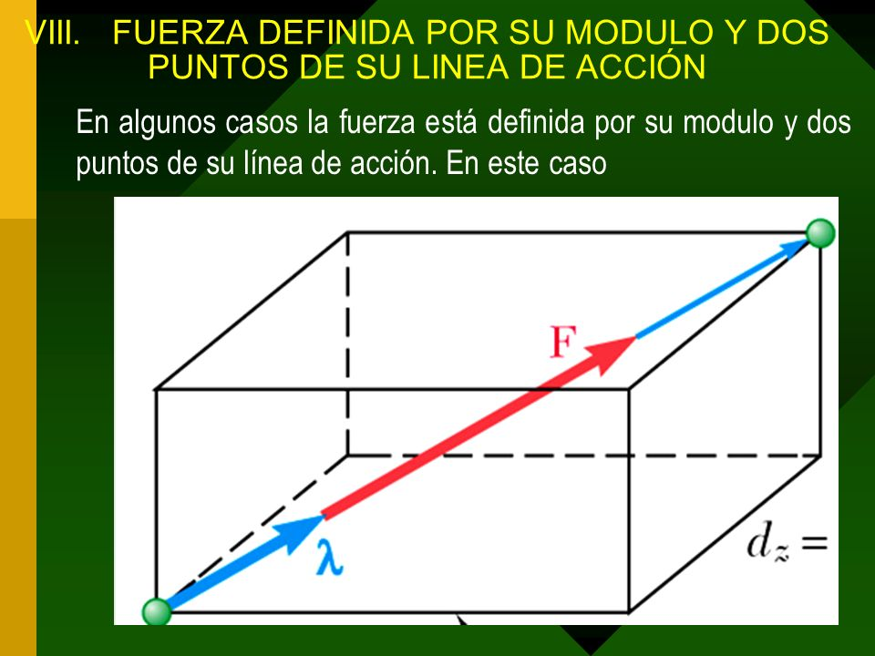 VIII. FUERZA DEFINIDA POR SU MODULO Y DOS PUNTOS DE SU LINEA DE ACCIÓN