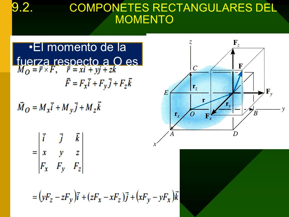 9.2. COMPONETES RECTANGULARES DEL MOMENTO