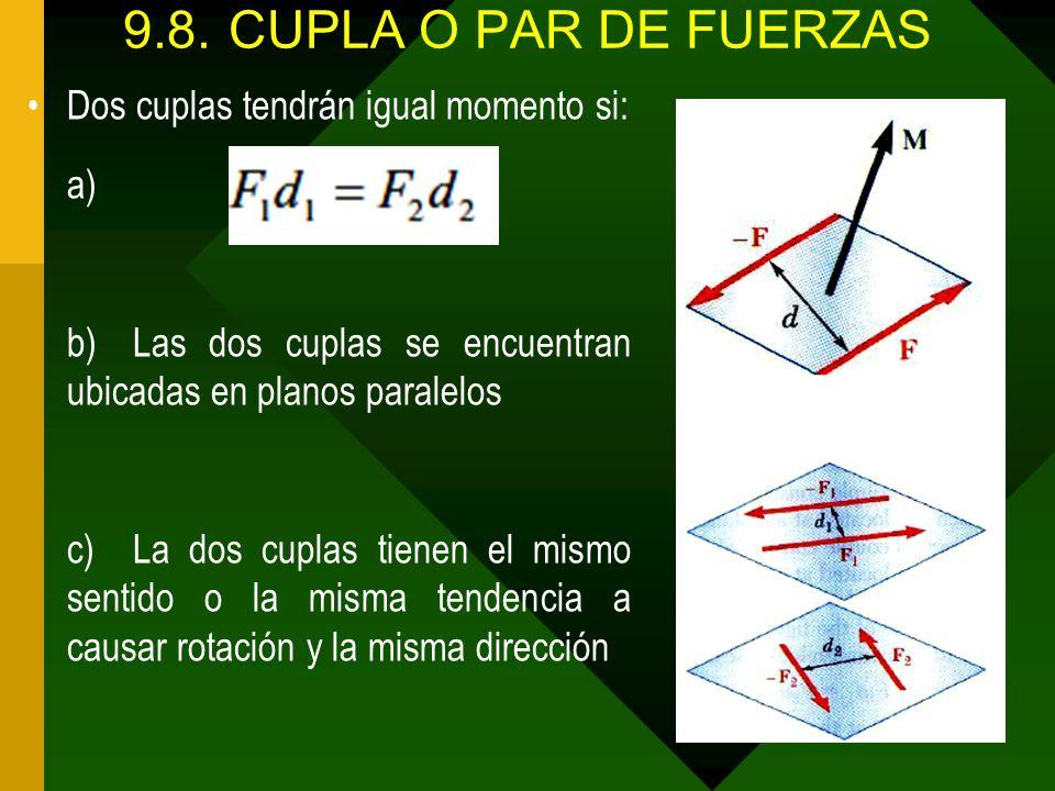 9.8. CUPLA O PAR DE FUERZAS Dos cuplas tendrán igual momento si: a)