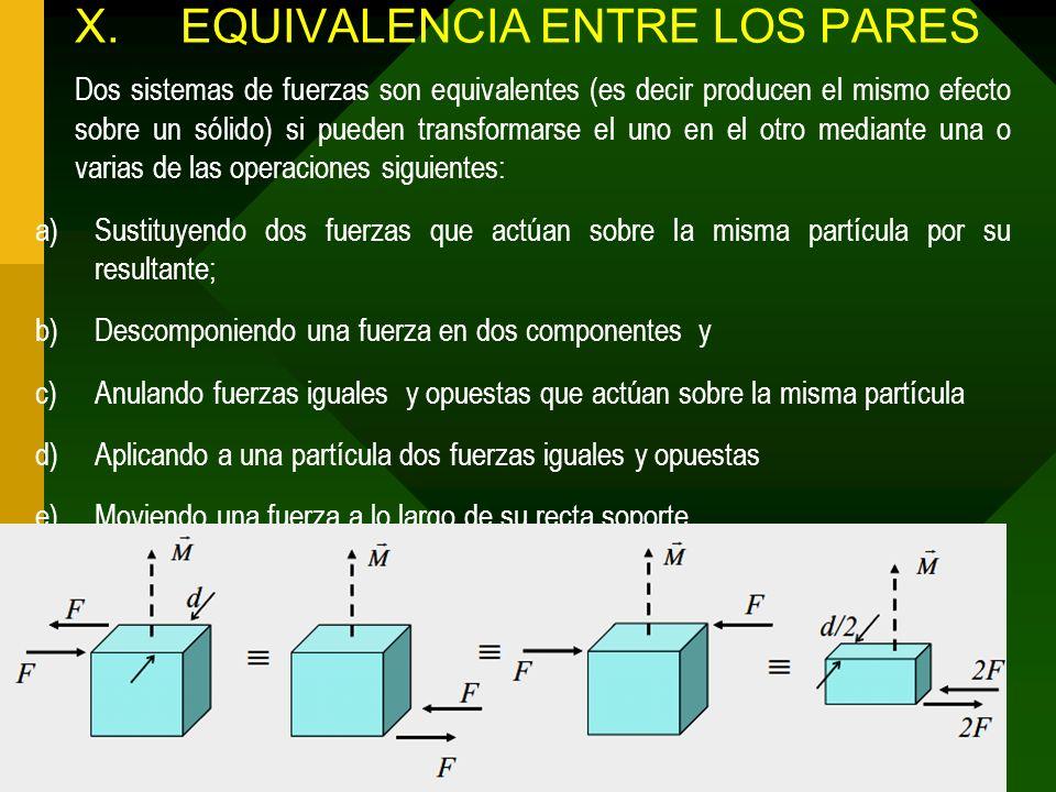 X. EQUIVALENCIA ENTRE LOS PARES