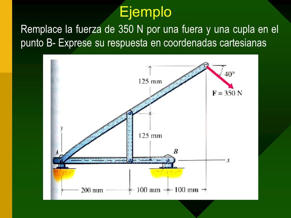 Ejemplo Remplace la fuerza de 350 N por una fuera y una cupla en el punto B- Exprese su respuesta en coordenadas cartesianas.