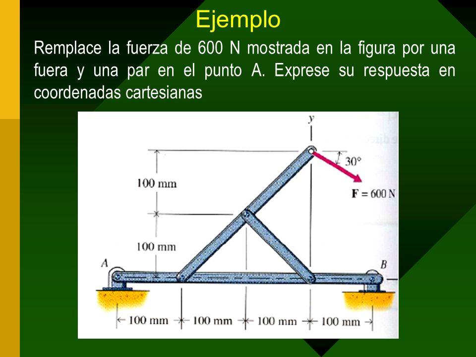 Ejemplo Remplace la fuerza de 600 N mostrada en la figura por una fuera y una par en el punto A.