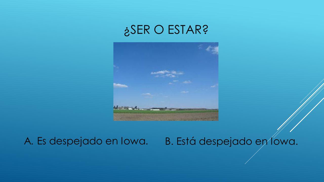 B. Está despejado en Iowa.