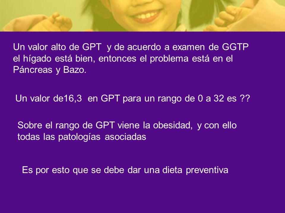 Un valor alto de GPT y de acuerdo a examen de GGTP el hígado está bien, entonces el problema está en el Páncreas y Bazo.