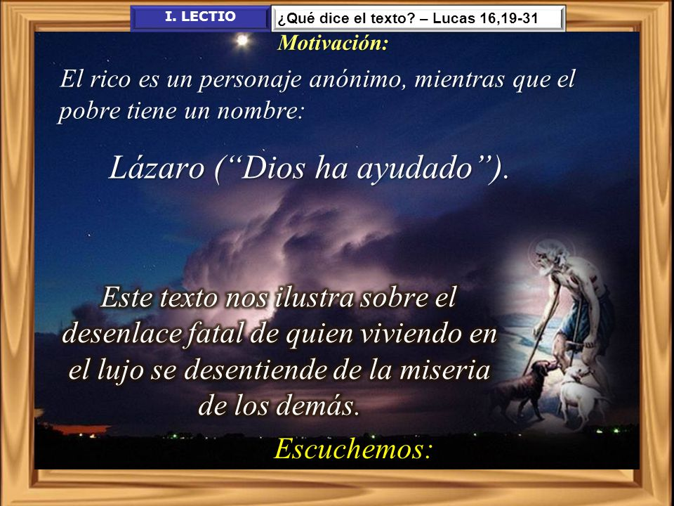 Lázaro ( Dios ha ayudado ).