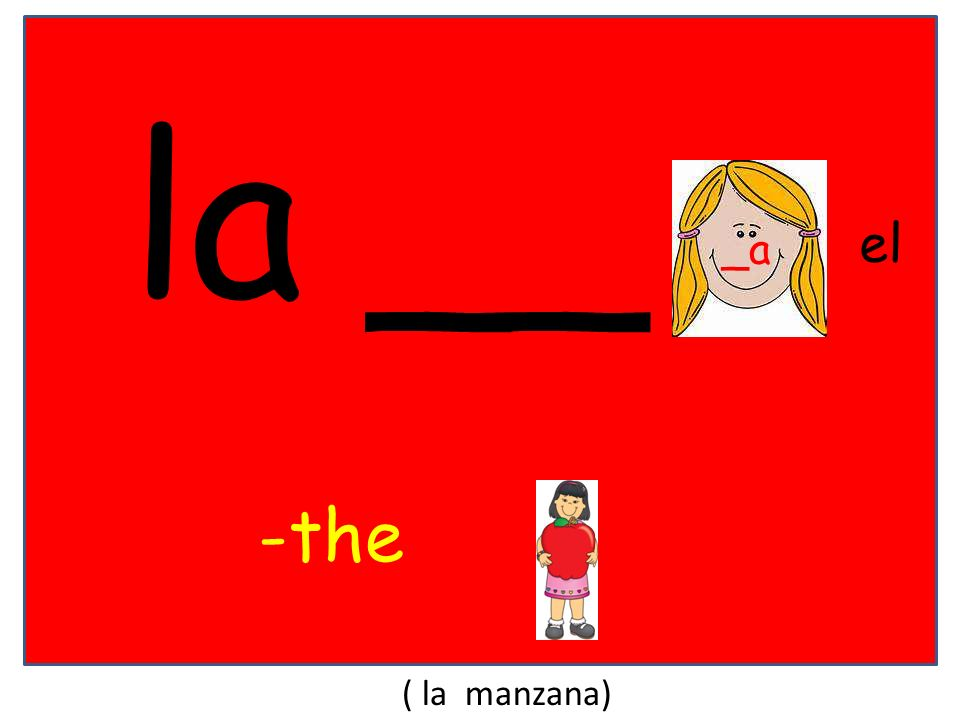 la __ el _a -the ( la manzana)