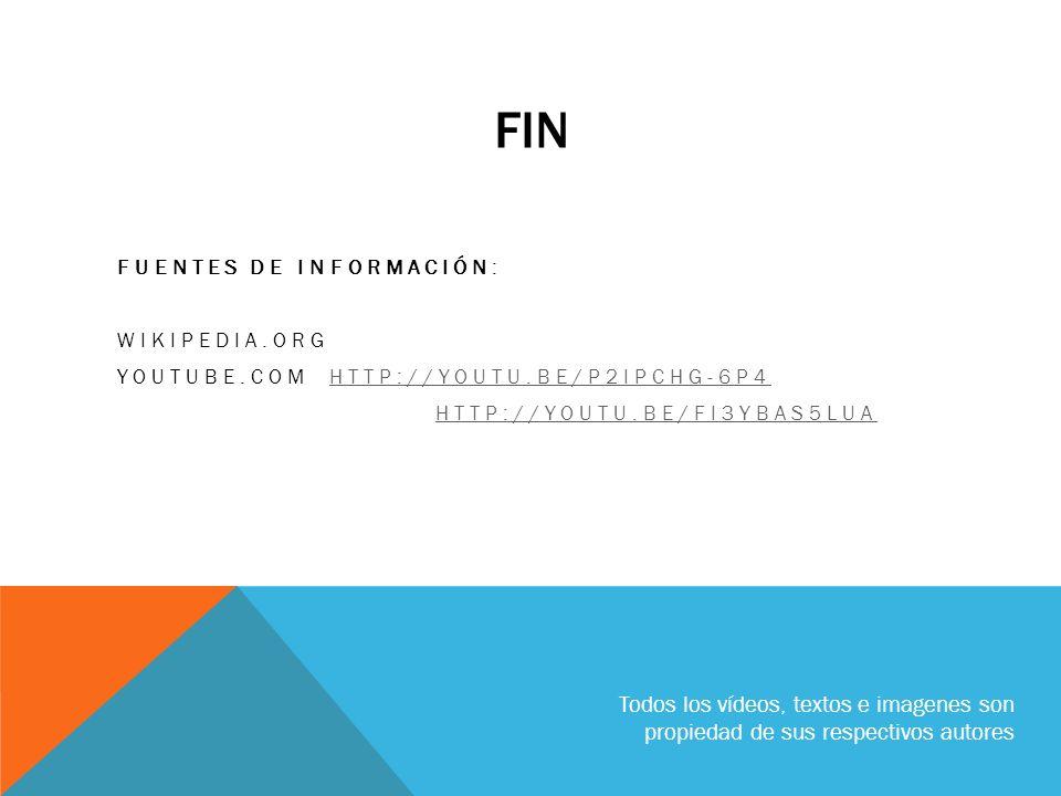 Fin FUENTES DE INFORMACIÓN: WIKIPEDIA.ORG. YOUTUBE.COM http://youtu.be/P2iPchg-6p4. http://youtu.be/fi3YbAs5LuA.