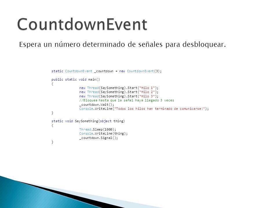 CountdownEvent Espera un número determinado de señales para desbloquear. static CountdownEvent _countdown = new CountdownEvent(3);