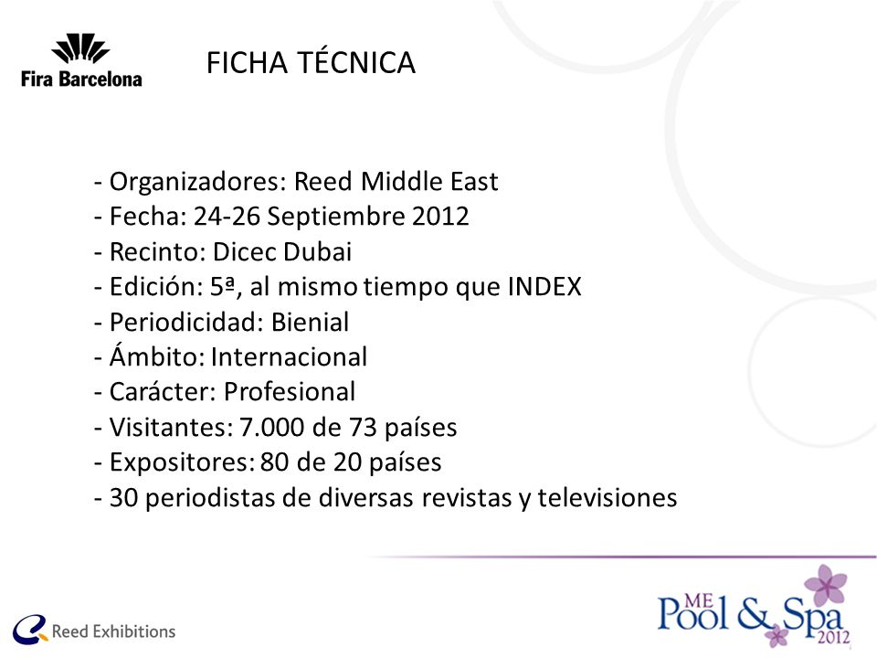 FICHA TÉCNICA - Organizadores: Reed Middle East