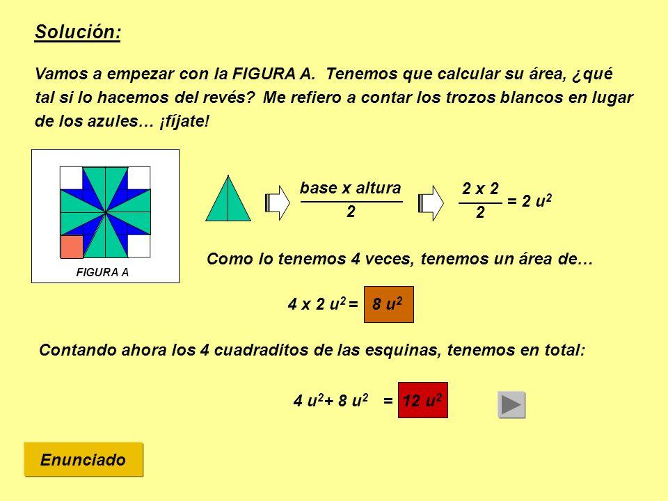 Solución: Tenemos que calcular su área, ¿qué tal si lo hacemos del revés Vamos a empezar con la FIGURA A.