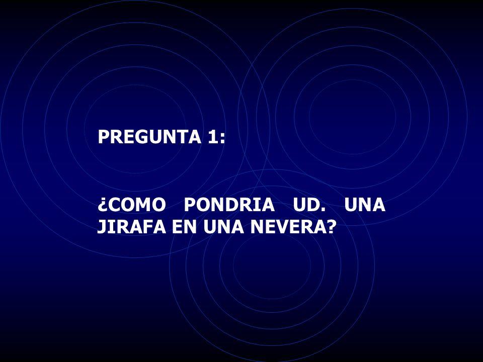 PREGUNTA 1: ¿COMO PONDRIA UD. UNA JIRAFA EN UNA NEVERA