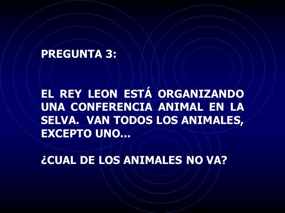 PREGUNTA 3: EL REY LEON ESTÁ ORGANIZANDO UNA CONFERENCIA ANIMAL EN LA SELVA. VAN TODOS LOS ANIMALES, EXCEPTO UNO...