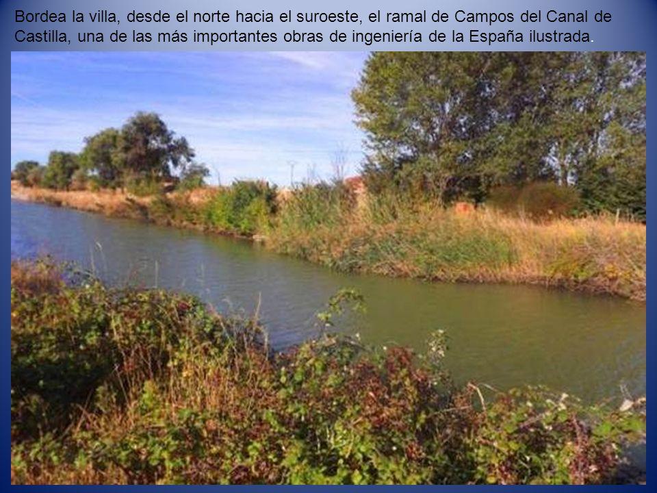Bordea la villa, desde el norte hacia el suroeste, el ramal de Campos del Canal de Castilla, una de las más importantes obras de ingeniería de la España ilustrada.