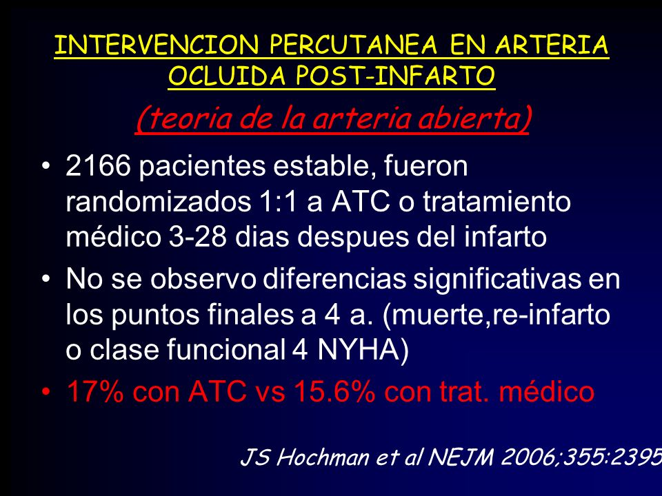 INTERVENCION PERCUTANEA EN ARTERIA OCLUIDA POST-INFARTO