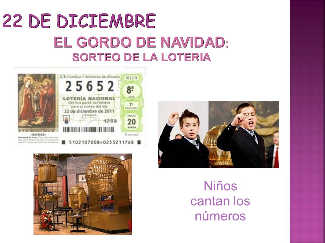 22 DE DICIEMBRE EL GORDO DE NAVIDAD: Niños cantan los números