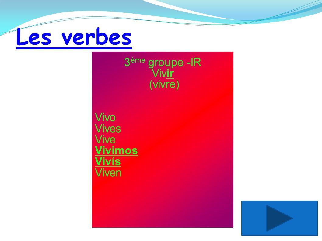 Les verbes 3ème groupe -IR Vivir (vivre) Vivo Vives Vive Vivimos Vivís