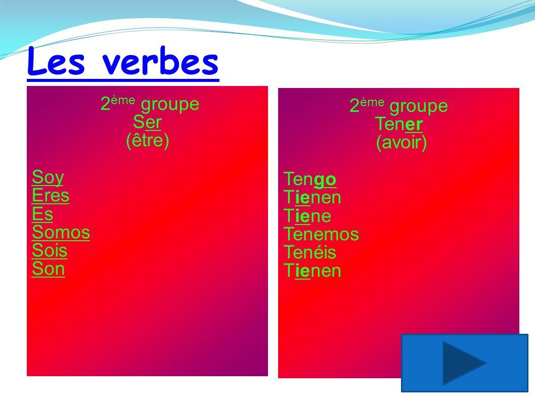 Les verbes 2ème groupe 2ème groupe Tener Ser (avoir) (être) Soy Tengo