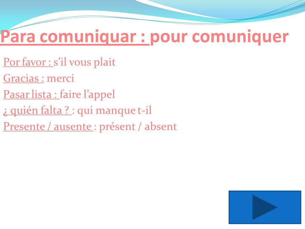 Para comuniquar : pour comuniquer