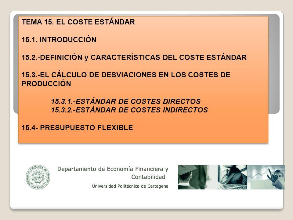 TEMA 15. EL COSTE ESTÁNDAR 15.1. INTRODUCCIÓN. 15.2.-DEFINICIÓN y CARACTERÍSTICAS DEL COSTE ESTÁNDAR.