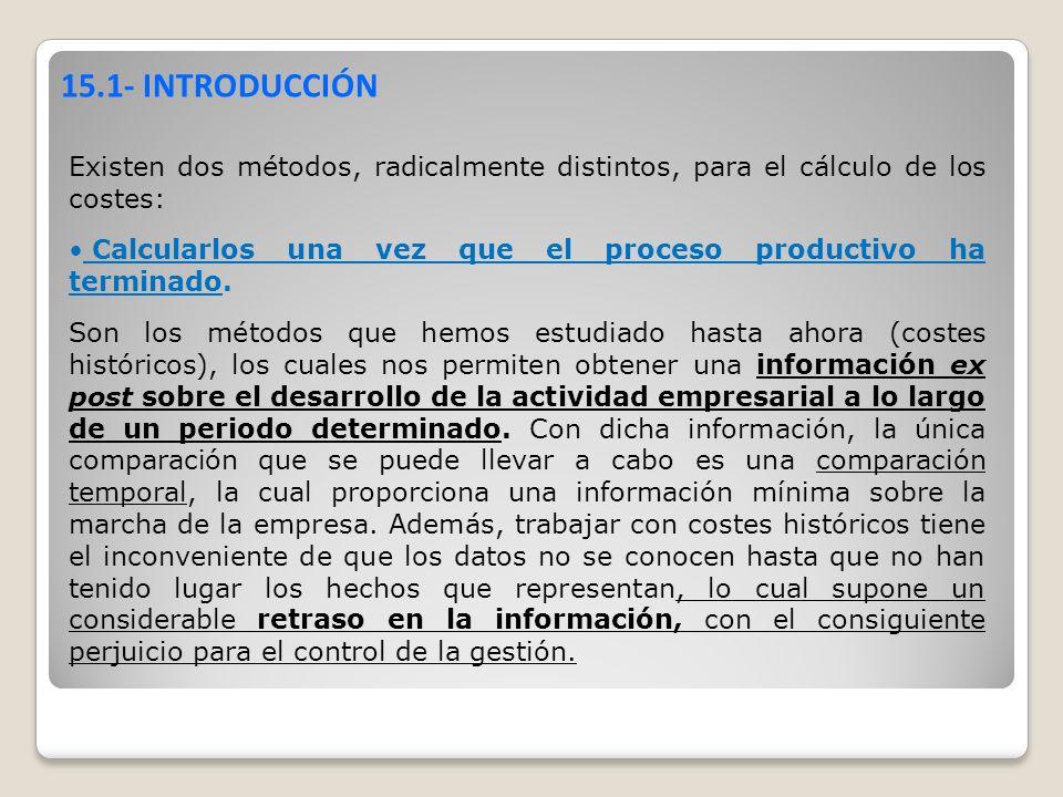 15.1- INTRODUCCIÓN Existen dos métodos, radicalmente distintos, para el cálculo de los costes: