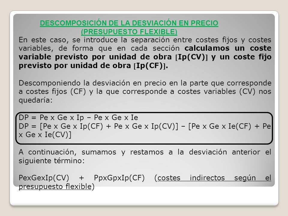 DESCOMPOSICIÓN DE LA DESVIACIÓN EN PRECIO (PRESUPUESTO FLEXIBLE)