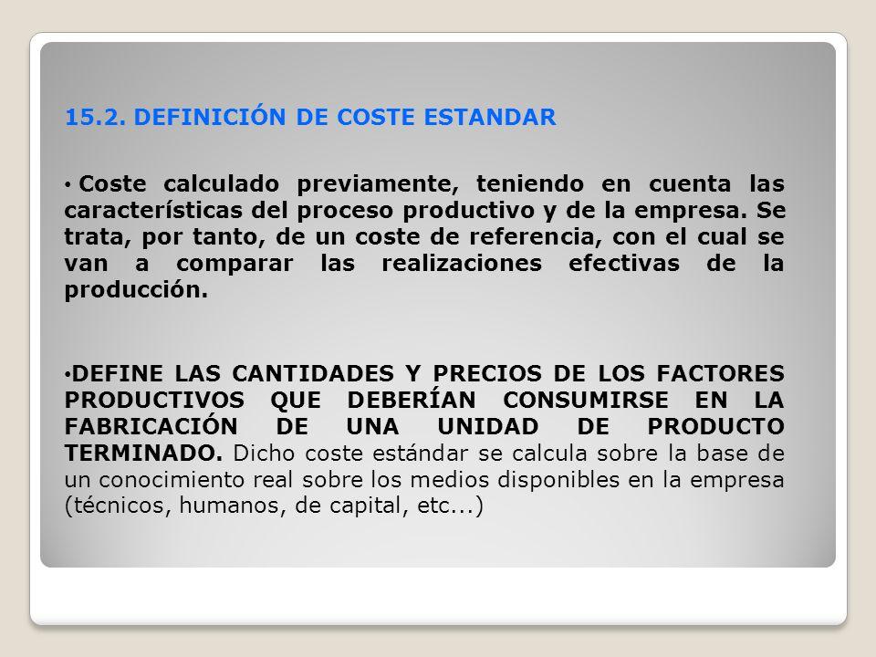 15.2. DEFINICIÓN DE COSTE ESTANDAR
