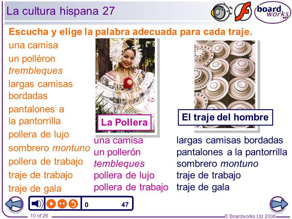 La cultura hispana 27 Escucha y elige la palabra adecuada para cada traje. una camisa. un polléron trembleques.
