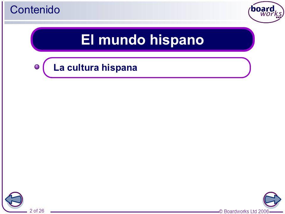 Contenido El mundo hispano La cultura hispana