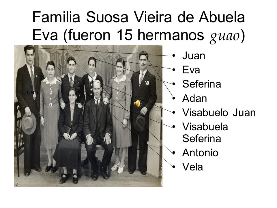 Familia Suosa Vieira de Abuela Eva (fueron 15 hermanos guao)