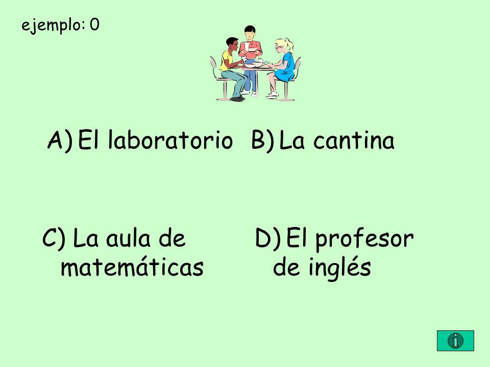 C) La aula de matemáticas D) El profesor de inglés
