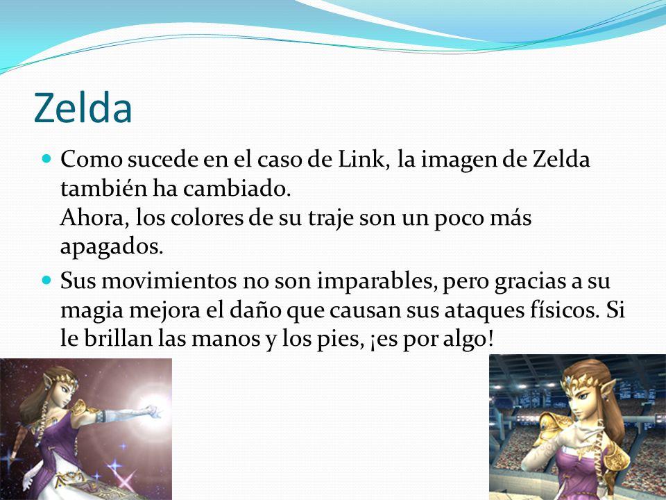 Zelda Como sucede en el caso de Link, la imagen de Zelda también ha cambiado. Ahora, los colores de su traje son un poco más apagados.